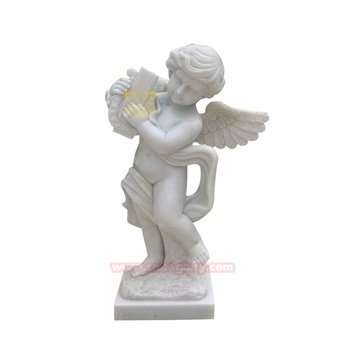Garden Ornaments White Marble Small Angel Playing Statue