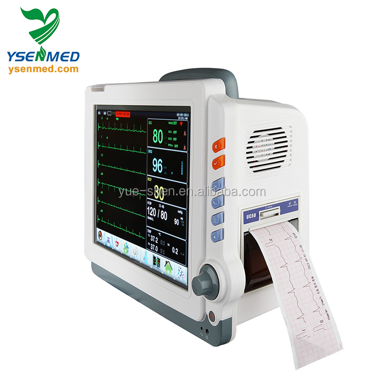 YSPM90C portable multiparameter ECG/NIBP/SPO2/PR/HR/TEMP/RESP 12.1 color TFT touch screen patient monitor