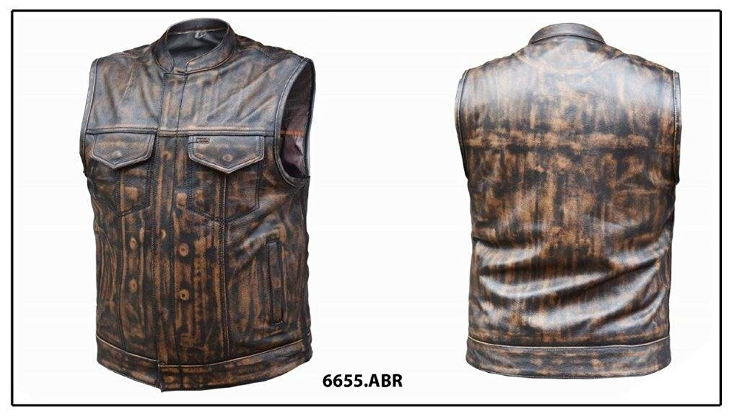 Unik International Mens Nevada Brwon Ultrs SOA Style Collared Leather Club Vest Large