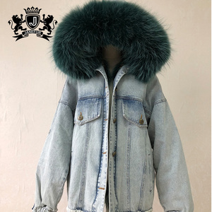 9colors denim jeans oversize real fox fur trimmed fox fur bomber jacket parka for women