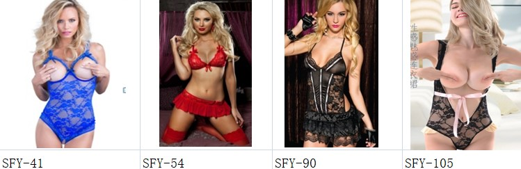 SFY832 Front buttonhole sexiest lingerie lacy hollowed-out sling ladies sexy black lingerie