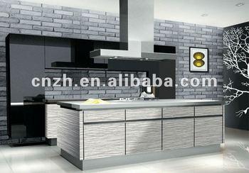 Fashion Wood Grain Acrylic Kitchen Cabinet Set
