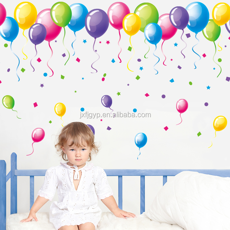 Hot selling removable DIY colorful balloon kids birthday decoration party sticker