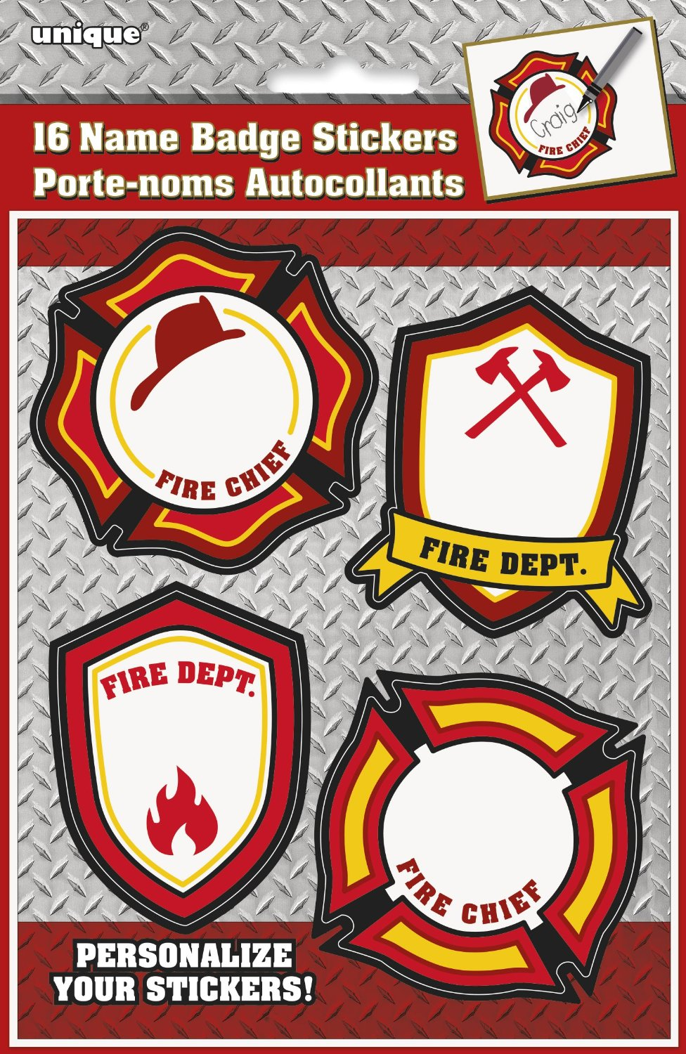 Fire Truck Birthday Name Tag Stickers, 16ct