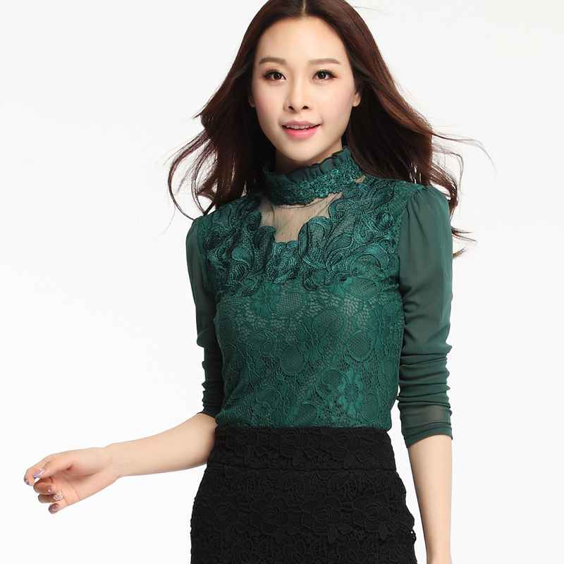 f91f86ca Get Quotations · Plus Size Lace Shirt Turtleneck Autumn Pullovers Women  Blouse Mesh Blouse Shirt Women Tops Embroidered Patchwork