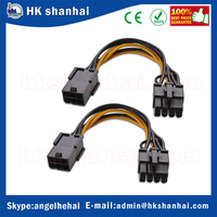 10cm PCI express power 8 pin male to 6 pin female PCIe to 2x molex LP4 PSU power cable graphics card power supply cable
