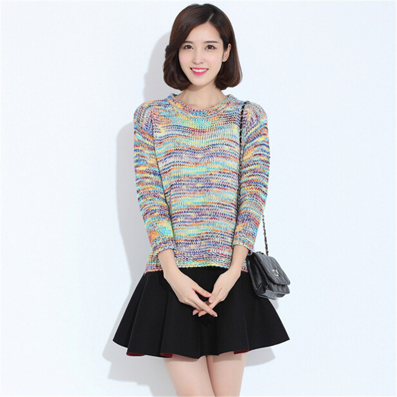 73b7294d79ee85 Get Quotations · Women Rainbow Gradient Loose Sweater 2015 Cute Autumn  Winter Sweaters Coat Vintage Rainbow Gradient Knitted Sweaters