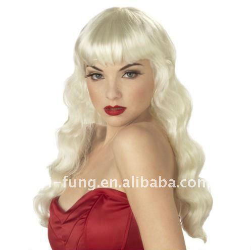 Womens Blonde Pin up Girl Wig Costume Accessory