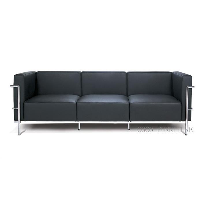 le corbusier lc3 sofa kulit hitam 7017b 3 ruang tamu sofa