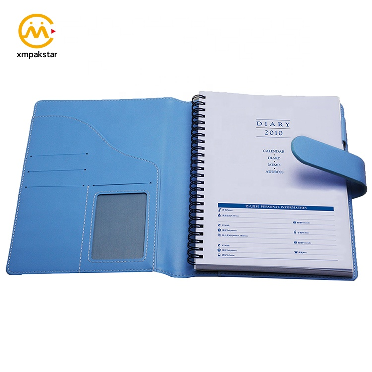 Wholesale custom PU cover personal paper notebook office pocket diary with pen