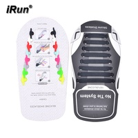 iRun Promotional Gift Shoe No Tie Silicone Laces Rubber Elastic Shoelaces For Kids And Adults Shoe Laces With Low MOQ