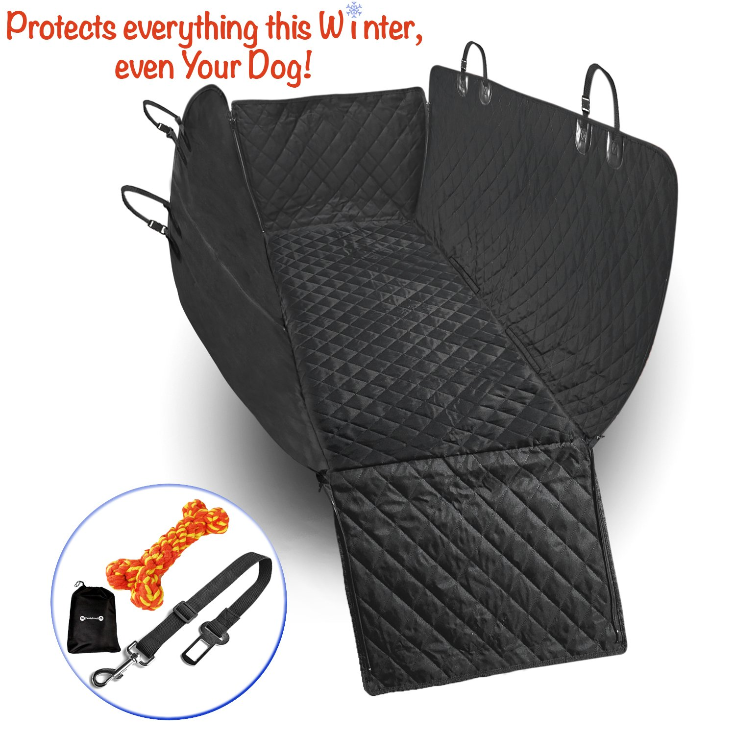 Back Seat Covers - Dog Seat Covers - Pet Seat Covers - Car Seat Covers for Dogs - Dog Car Seat Covers - Dog Hammock - Car Mats for Dogs - WATERPROOF - SIDE FLAPS -BONUS: dog toy+dog seat belt+bag 1Kit