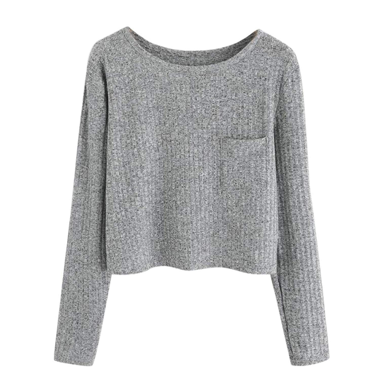 WM & MW Womens Crop Tops Casual Long Sleeve Solid O-Neck Pocket T-Shirt Short Pullover Sweatshirt