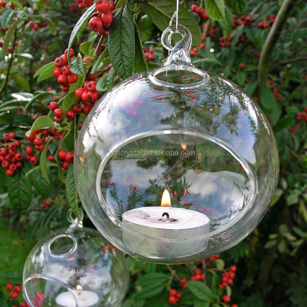 MH-12587 clear hanging glass tealight holder glass bauble tealight holder