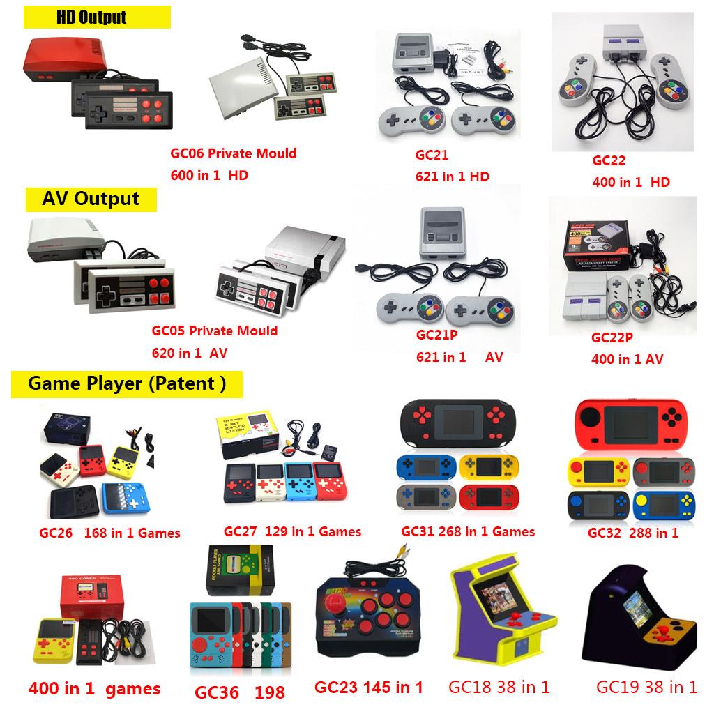 चीन थोक बच्चों HD 1080 p गेमिंग कंसोल क्लासिक रेट्रो हाथ में 621 गेम कंसोल