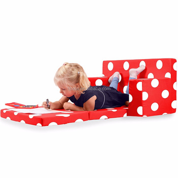 Childrens Sofa Bed Flip Out Couch Bed Kid Sofa In Flaming Red With White  Polka Dots