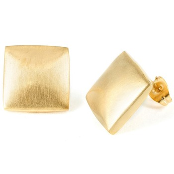 Saudi Women Jewelry Gold Over Silver Design Square Stud Earrings