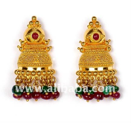 Antique Gold Earrings Buy Gold Jhumka Earrings Product on