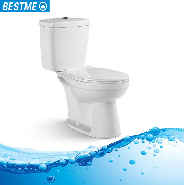 High quality bathroom ceramic washdown two-piece toilet with S-trap