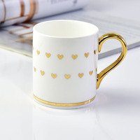 The most popular luxury own design gold handle for fine bone china mug