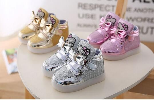 Children Casuals Shoes Hello Kitty Rhinestone Baby sneaker Girls Boys Sports boots Kids LED Light tenis Luminous usb kids shoe
