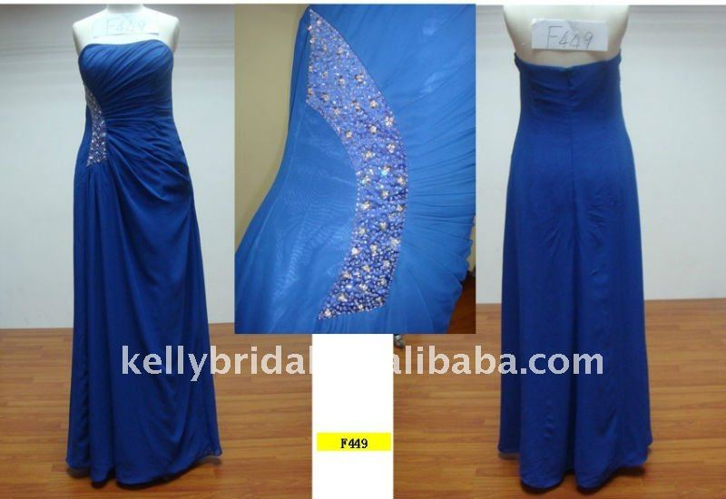 Blue With Side Beading Patterns For Bridesmaids Dresses Y Party F449 African Bead