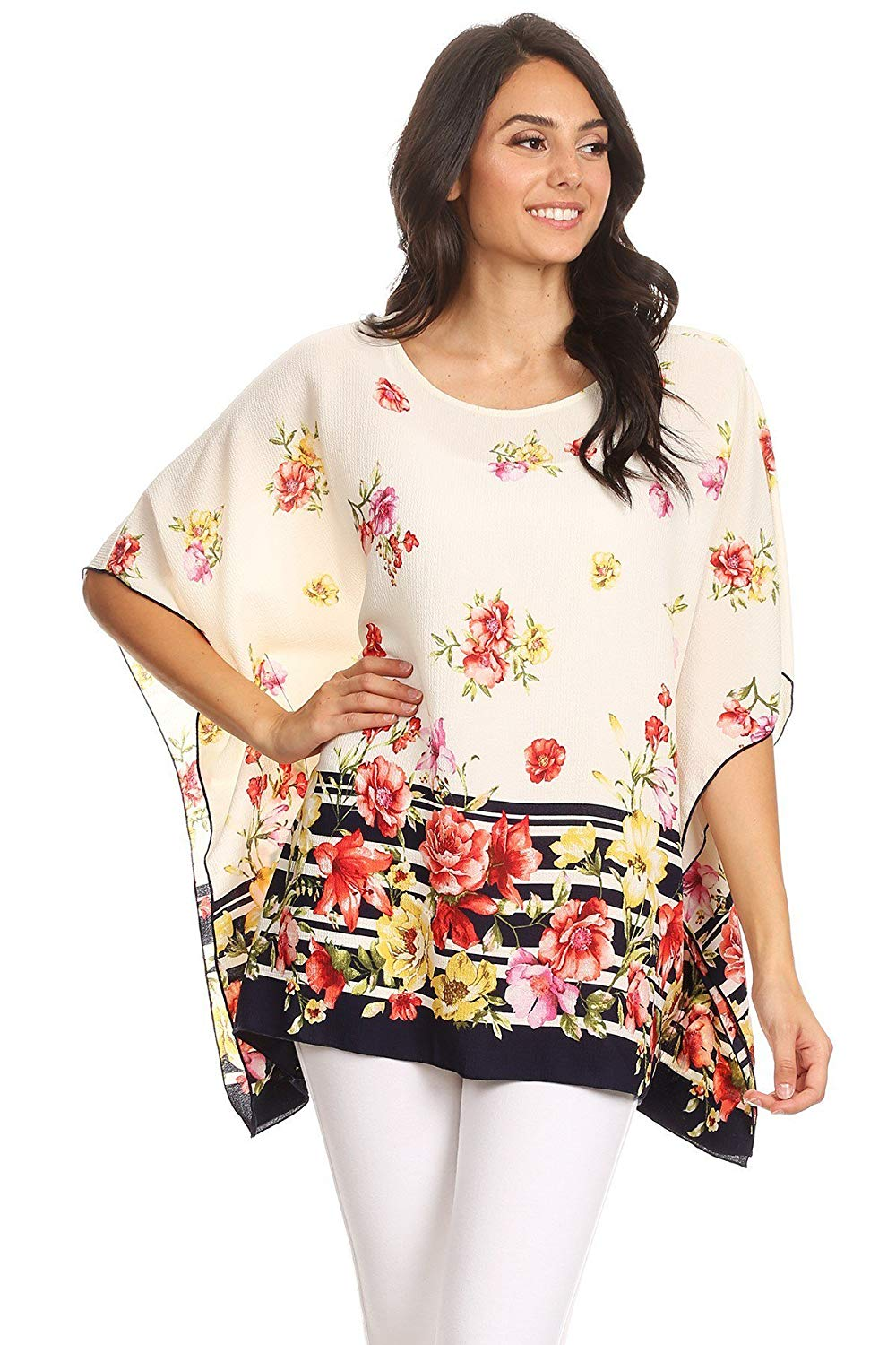 5772ea1935b Get Quotations · Modern Kiwi Connie Floral Printed Chiffon Caftan Tunic Top