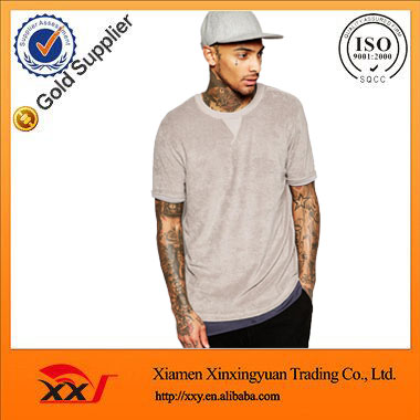fashion blank long t shirt bamboo t shirt in towelling with roll sleeve long line t shirt men