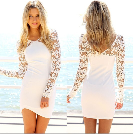 Buy Sheer Lace Sleeve Bodycon Bandage Dress Women Summer Dress 2015