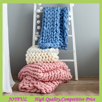 Super Chunky Knitted Merino Wool Throw Blanket Wholesales Buy