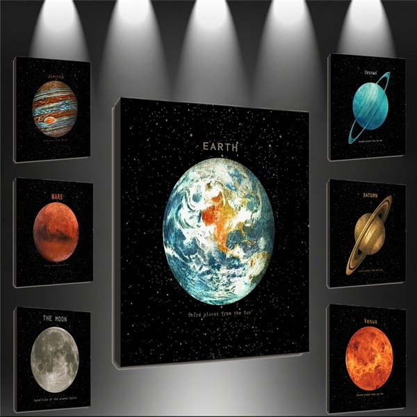 HD Printing Planets of the Solar System home Decoration Star Poster Earth Picture custom canvas wall art print