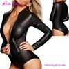Long Sleeve Leather Bodysuit Jumpsuits Cheap Latex Catsuit With Zipper