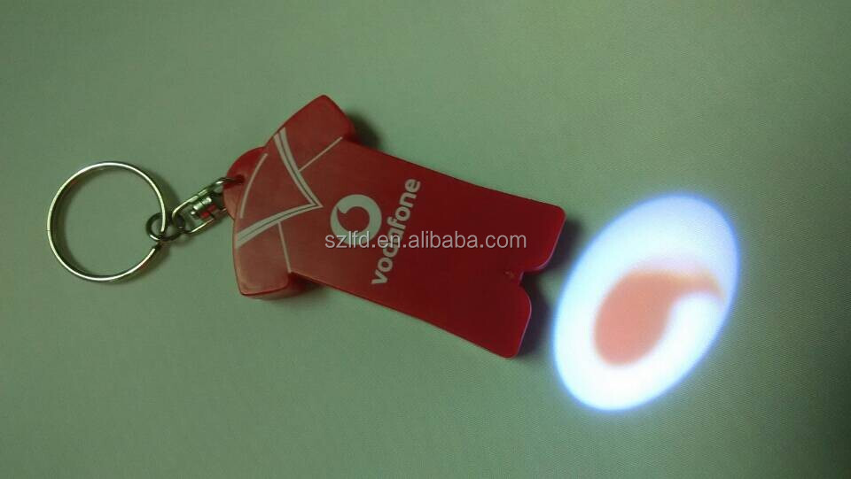 Halloween Gift led projector logo keychain Heart Shape led flashlight torch promotional key ring