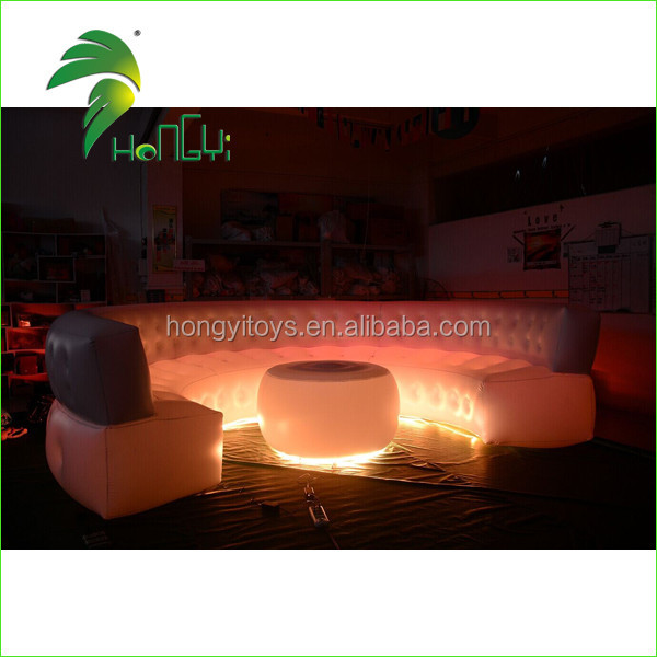 Customized PVC Inflatable Sofa / Comfortable Air Sofa Ded / Inflatable LED light Sofa for Party