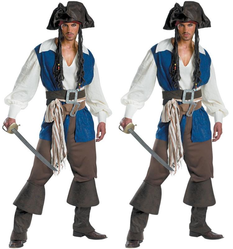 b33fd531d4 Get Quotations · Halloween Costumes For Men Pirate Cosplay Belt Cap vest  white shirt pants Socks M L XL Captain