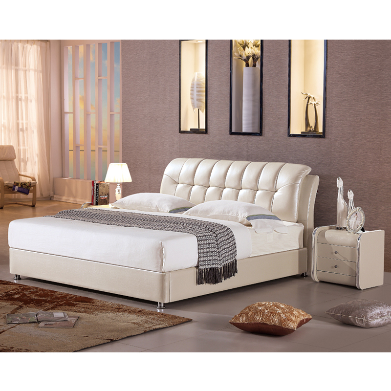 Top grain half leather bed in king size, Foshan very cheap furniture carved wooden bed
