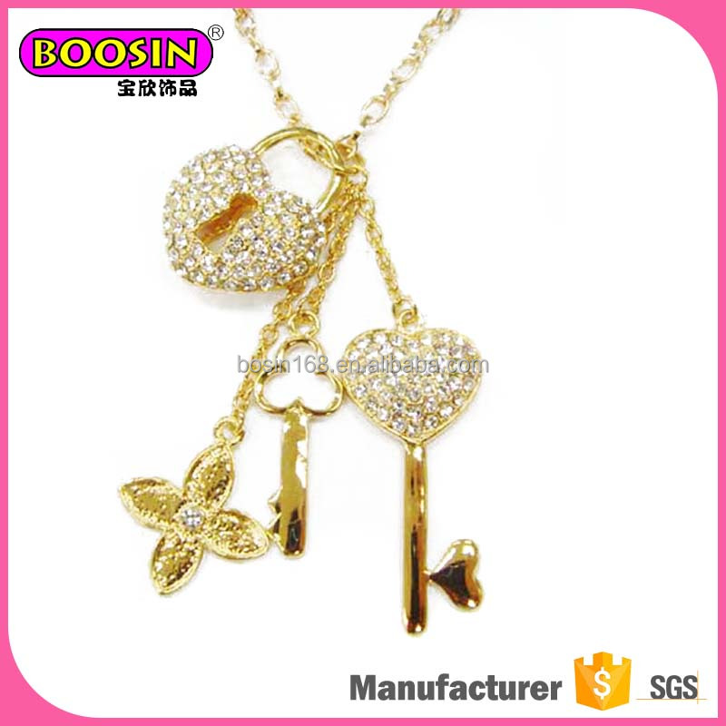 Prefessional design costume jewelry gold long pendant necklace for women