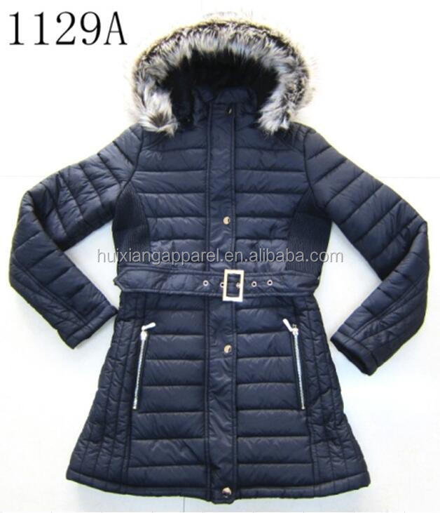 New quilted fur lining hoody lady warm jacket for winter