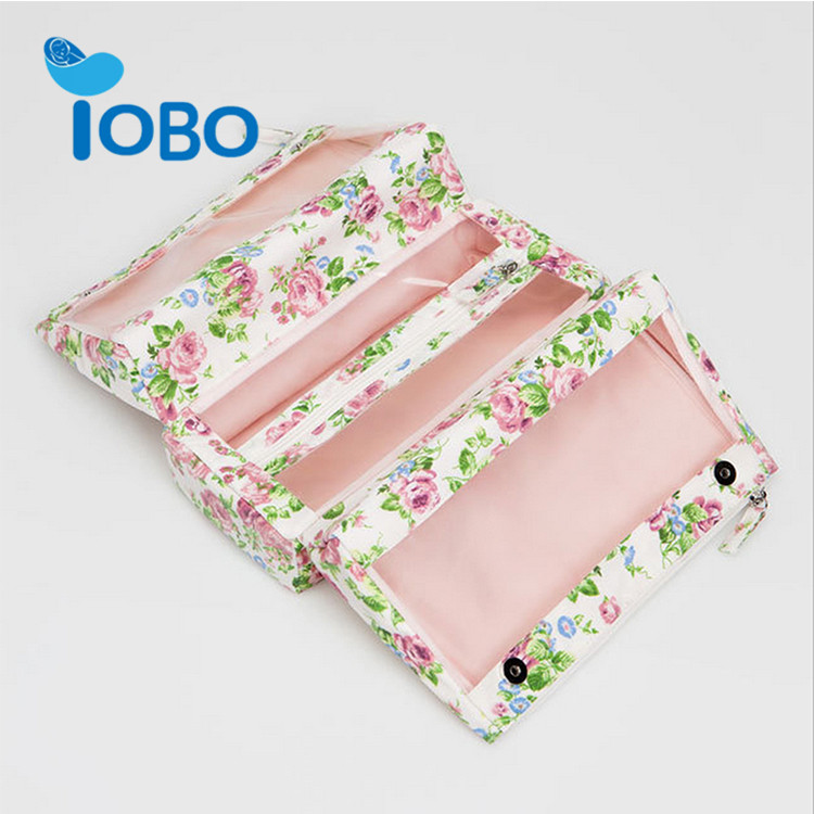 Factory sell custom zipper printed flower pouch cosmetic bag