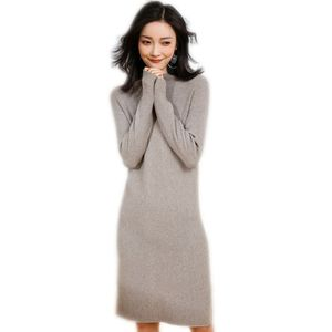 Dilly Fashion womens cashmere blended mock neck long pattern knit sweater dress fall winter long pullover