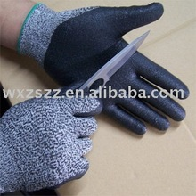 Tuffalene cut resistant fibre working glove with foam nitrile palm coated