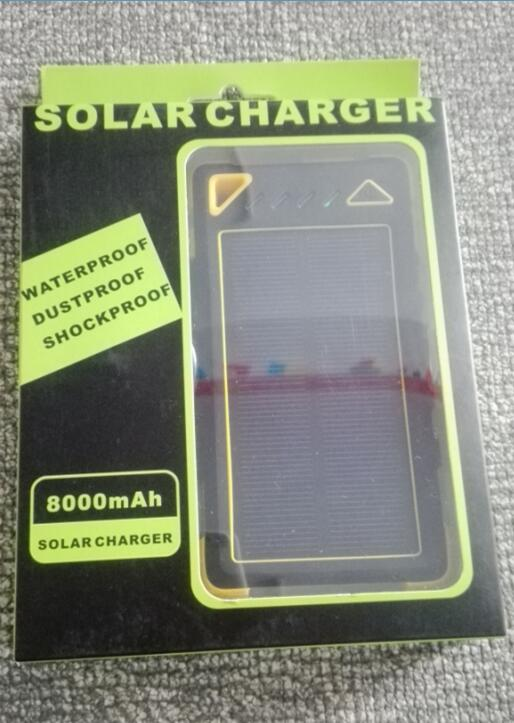 Eco-friendly gift package Solar Power Bank 8000mah with 3 Ports Batter Charger