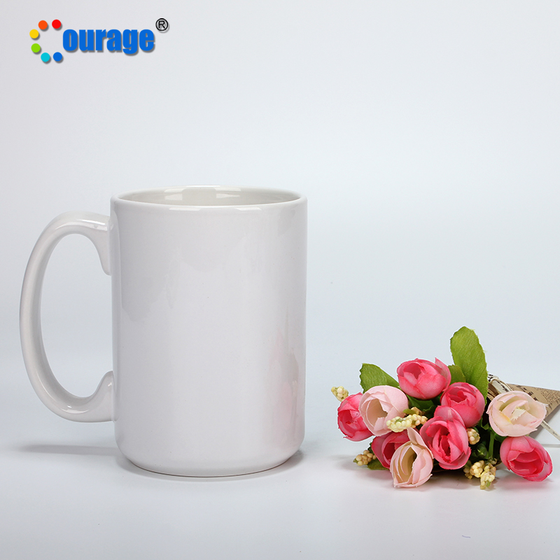 High Quality Cheap Blank Plain White Ceramic Coffee Mugs 15 OZ