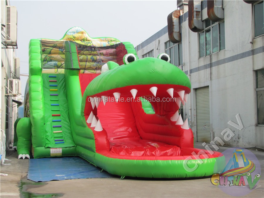 New Arrived Giant Inflatable Crocodile Water Slide,crocodile Inflatable  Water Slide With Pool