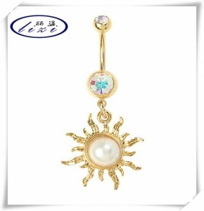 14G Gold sun carved navel belly ring for sale