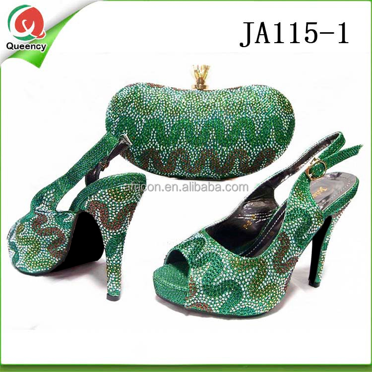 JA115 Queency High Heel Nigerian Women Wedding Matching High Heel Shoes And Bag 2017 for Party