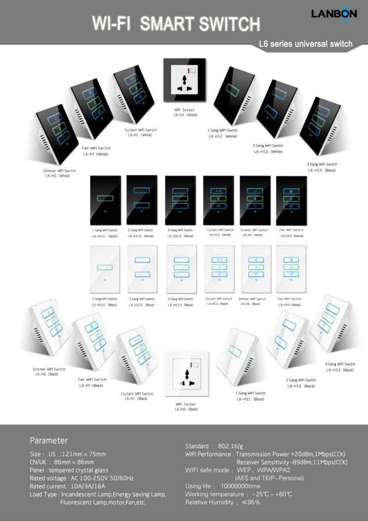 Lanbon new products wifi relay smart fan switch Alexa switch Google home  base, View wifi relay smart fan switch, Lanbon Product Details from  Shenzhen