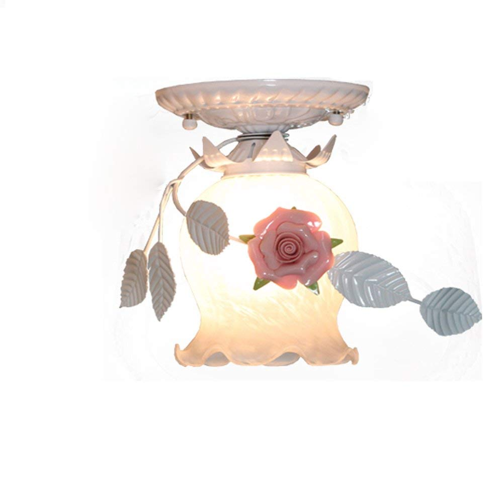 YXGH- Led Ceiling Lamps Warm Garden Garden Lights Bedroom lamp Energy Saving Lamps European-Style Romantic Romantic American Village Lighting Children's Ceiling lamp (Color : White)