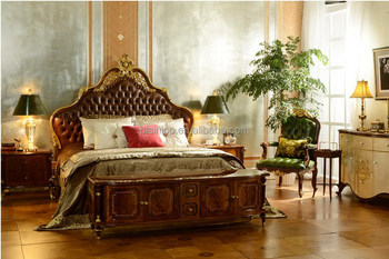 Luxurious French Empire Solid Wood 24k Gold Plated King Queen Size Bed With Leather Headboard
