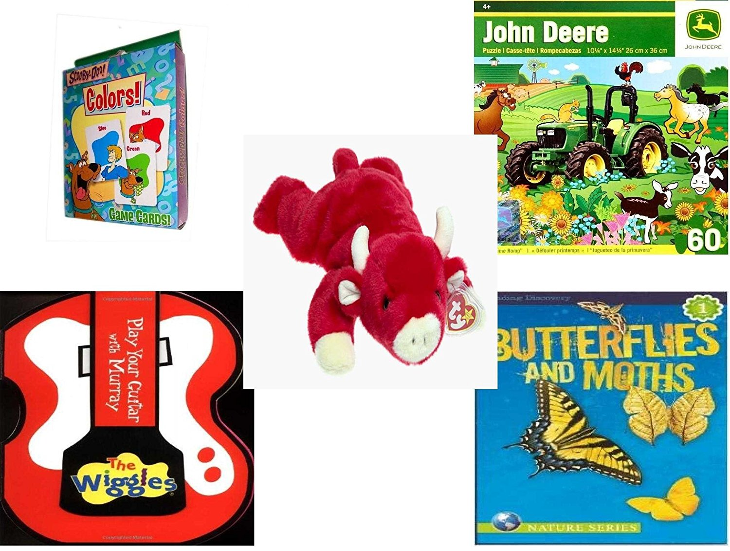 Children's Gift Bundle - Ages 3-5 [5 Piece] - Transformers Rescue Bots Memory Game - John Deere Springtime Romp 60 Piece Puzzle Toy - TY Beanie Baby - Snort the Bull - The Wiggles Play Your Guitar w